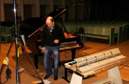 CD Production Olga Scheps / Sony 2009 at Christuskirche Berlin. Gerd is preparing the piano