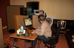 Cd Production Nils Mönkemeyer / Sony 2009 at Fattoria Musica Osnabrück. Temporary control room in the drum booth…