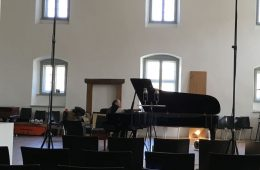 CD Production with Olga Scheps / Sony 2016 at Abtei Marienmünster. Gerd Finkenstein is preparing the Piano