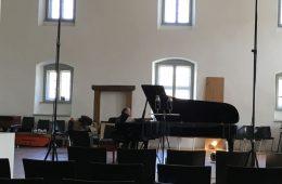 CD Production with Olga Scheps / Sony 2016 at Abtei Marienmünster. Gerd Finkenstein is preparing the Piano